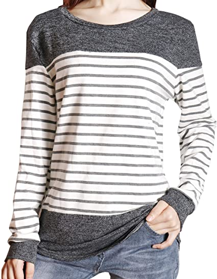 1ab5a25dae3 LETSRUNWILD Womens Long Sleeve Round Neck T Shirts Color Block Striped  Casual Blouses Tops Black-