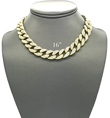 Mens Iced Out Hip Hop Gold tone CZ Miami Cuban Link Chain Choker