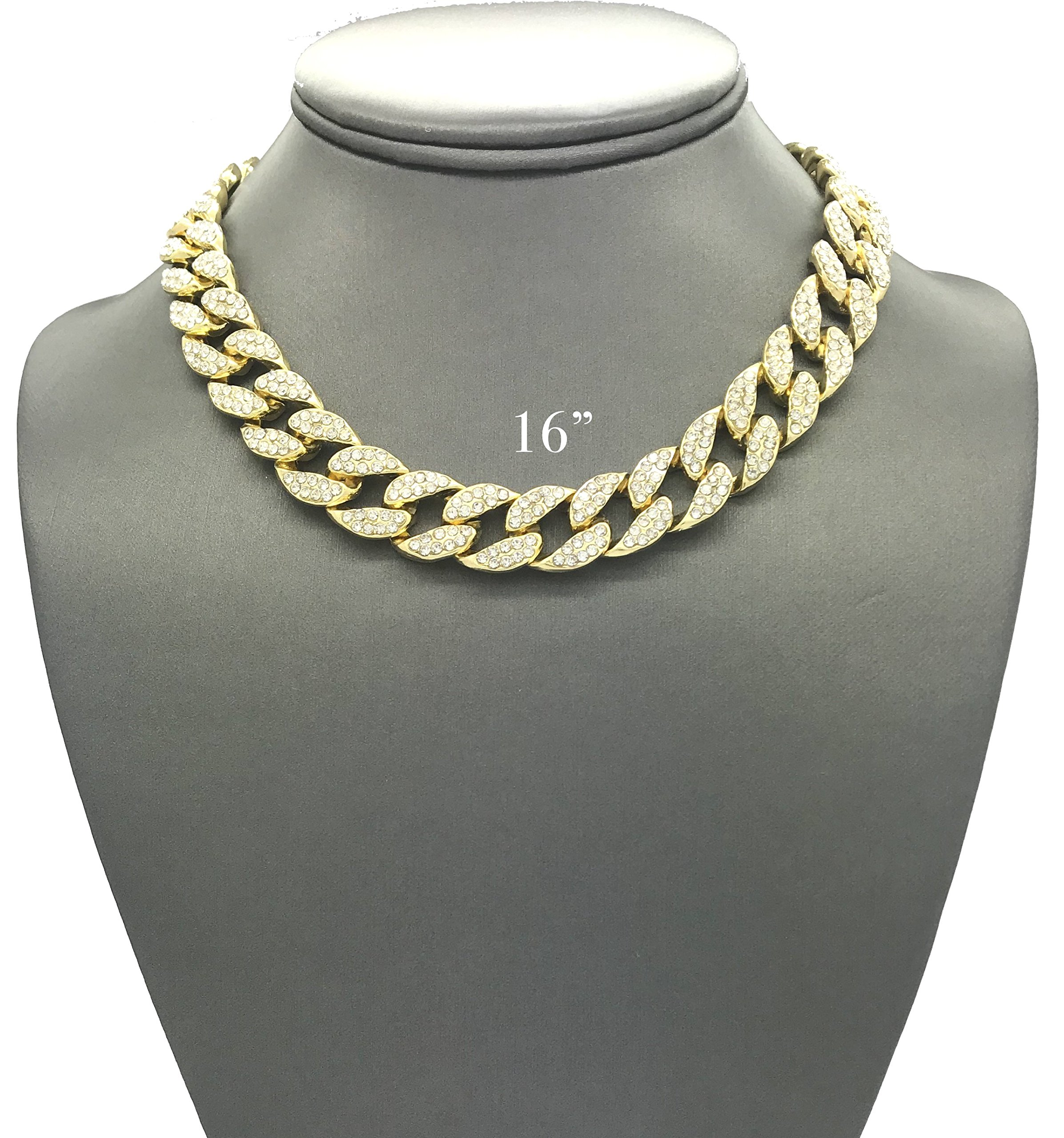 Mens Iced Out Hip Hop Gold tone CZ Miami Cuban Link Chain Choker Necklace (16'')