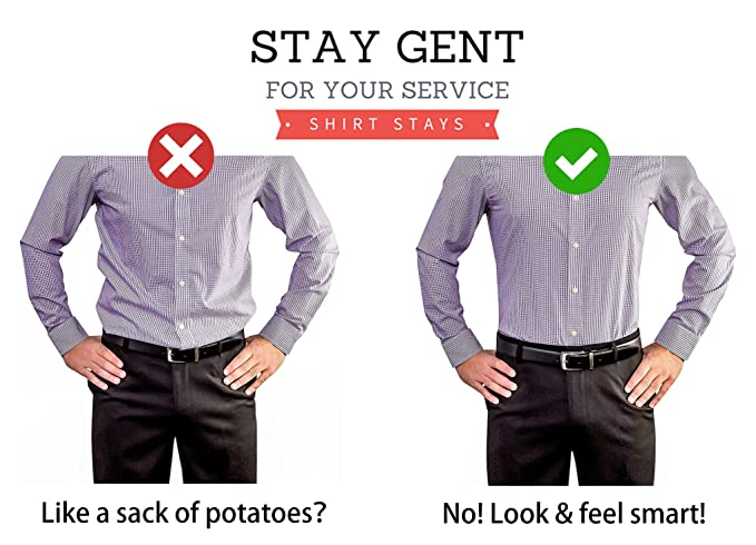 STAY GENT Y-Style Shirt Stays Antideslizante Tirantes Camisa Antiarrugas Hombre