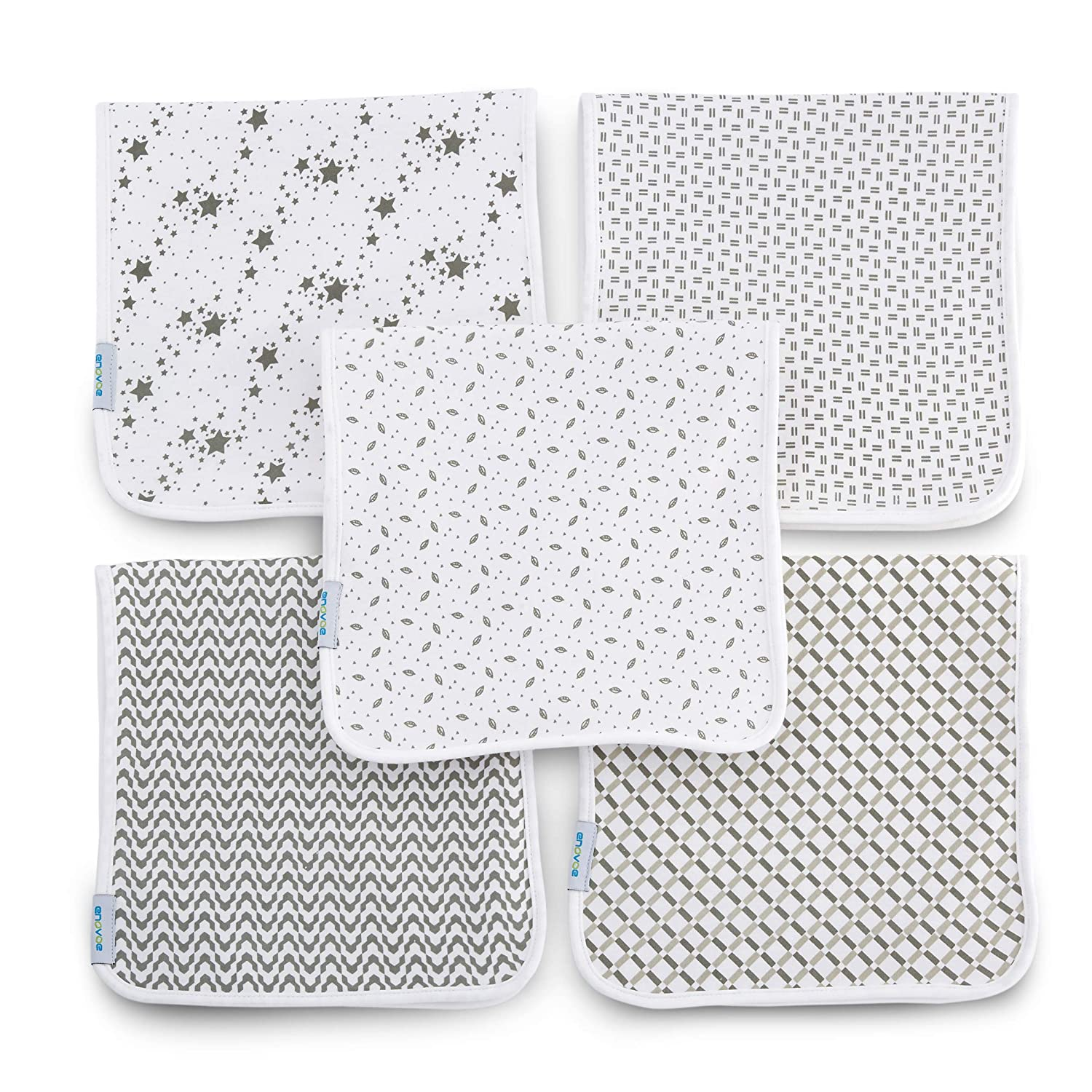"""Enovoe Organic Burp Cloths for Boys and Girls (5 Pack) - 21"""" x 10"""" - 100% GOTS Certified Organic Cotton, Extremely Absorbent, Soft and Durable Burping Cloth Rags, Perfect for Babies Drool and Spit Ups"""
