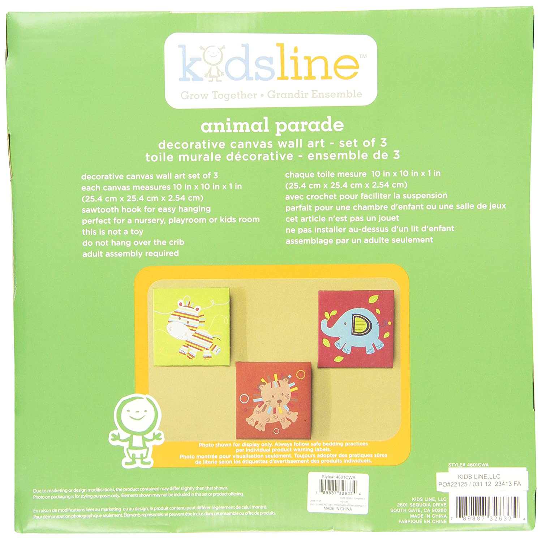 Amazon.com : Kids Line Canvas Wall Art, Animal Parade (Discontinued ...