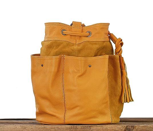 f8d59fc911 Paul Marius FLEUR Safran Sac forme bourse en cuir de vachette combinaison  cuir & nubuck bandoulière réglable: Amazon.fr: Chaussures et Sacs