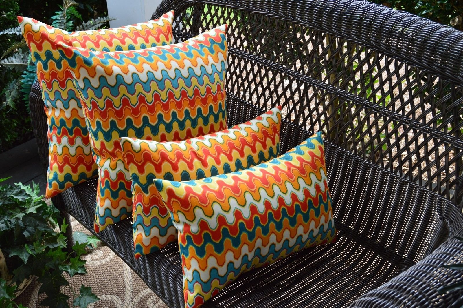 Resort Spa Home Decor Set of 4 Square Rectangle Geometric Flame Stitch Red Orange Teal Outdoor Pillows by Resort Spa Home Decor (Image #1)