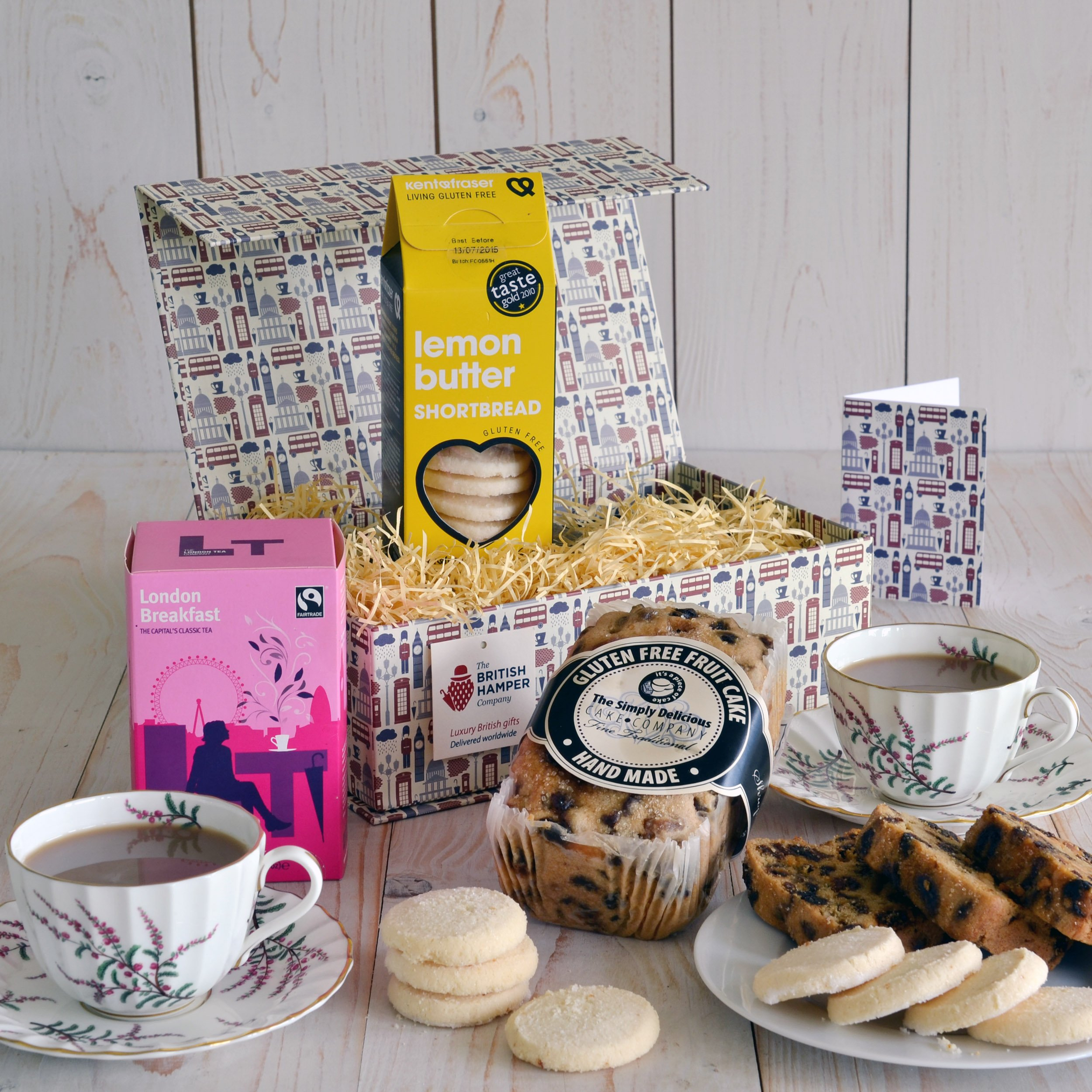 British Gluten Free Tea and Cake Gift - Gift Card Included - Gourmet British Food