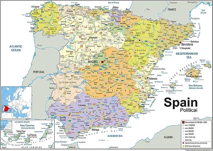 Foto Cartina Spagna.Cartina Politica Della Spagna In Carta Laminata Formato A1 59 4 X 84 1 Cm Amazon It Cancelleria E Prodotti Per Ufficio