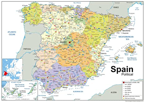 Moron Spain Map.Spain Political Map Paper Laminated A1 Size 59 4 X 84 1 Cm