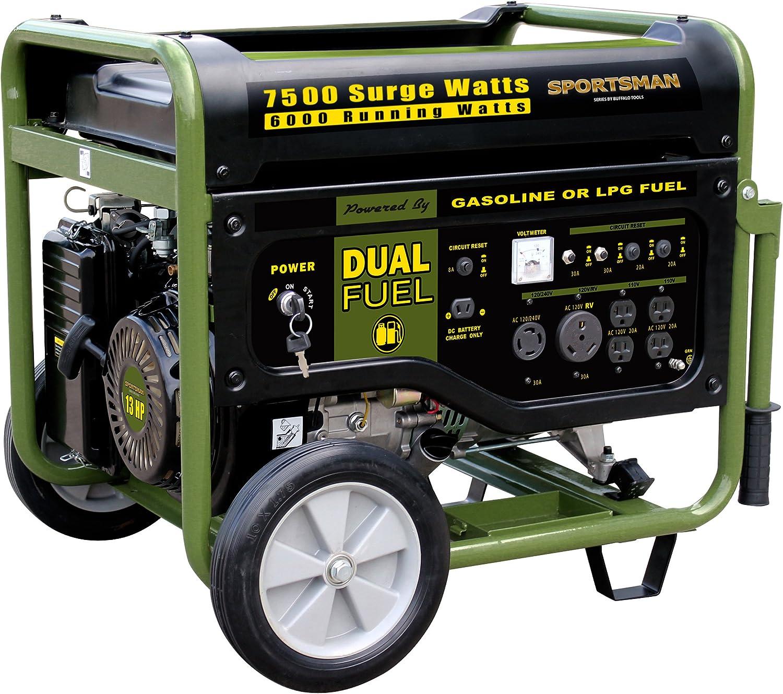 Sportsman GEN7500DF 7,500 Watt 13 HP 389cc OVH 4-Stroke Gas Propane Powered Portable Generator With Electric Start