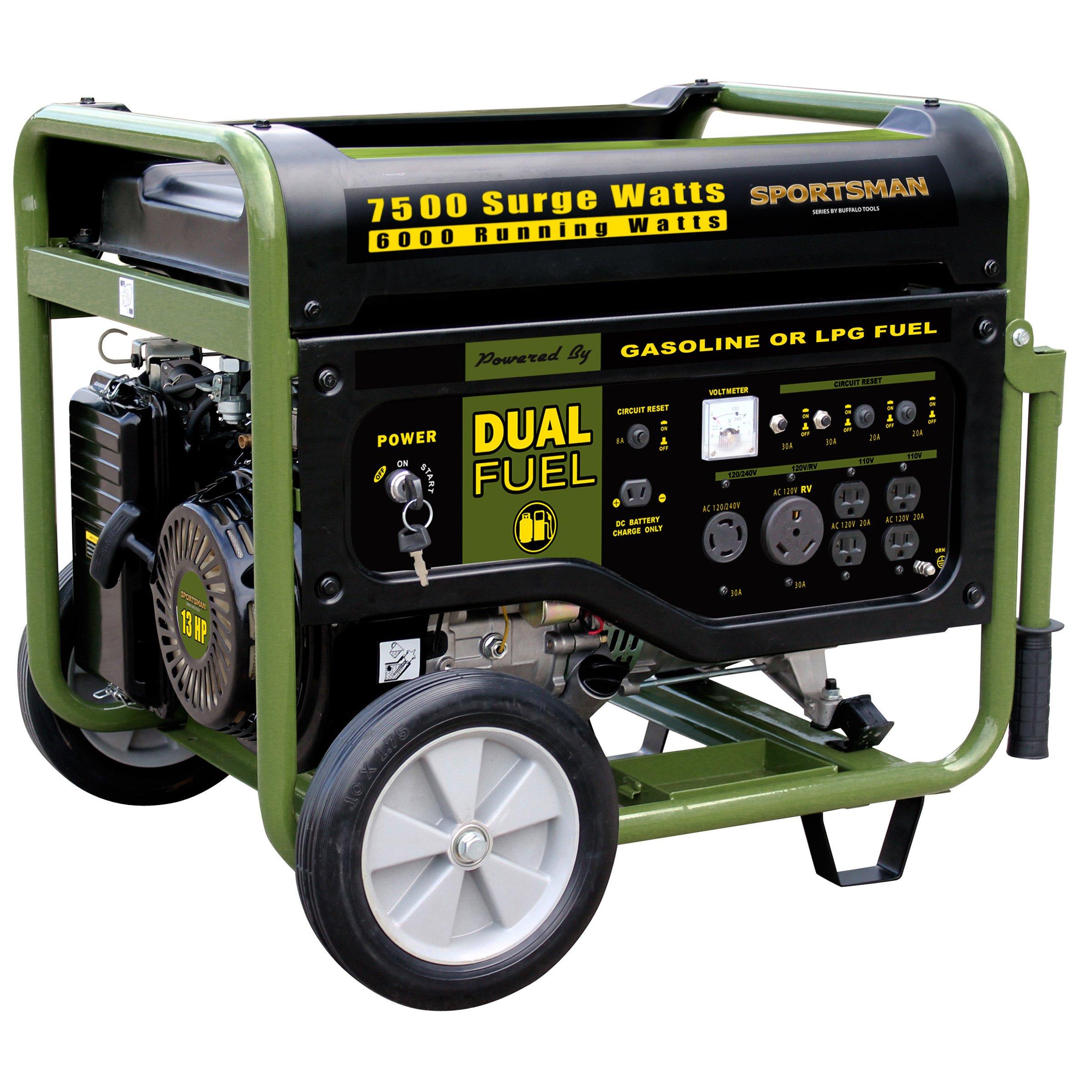 Sportsman GEN7500DF 7,500 Watt 13 HP 389cc OVH 4-Stroke Gas/Propane Powered Portable Generator With Electric Start