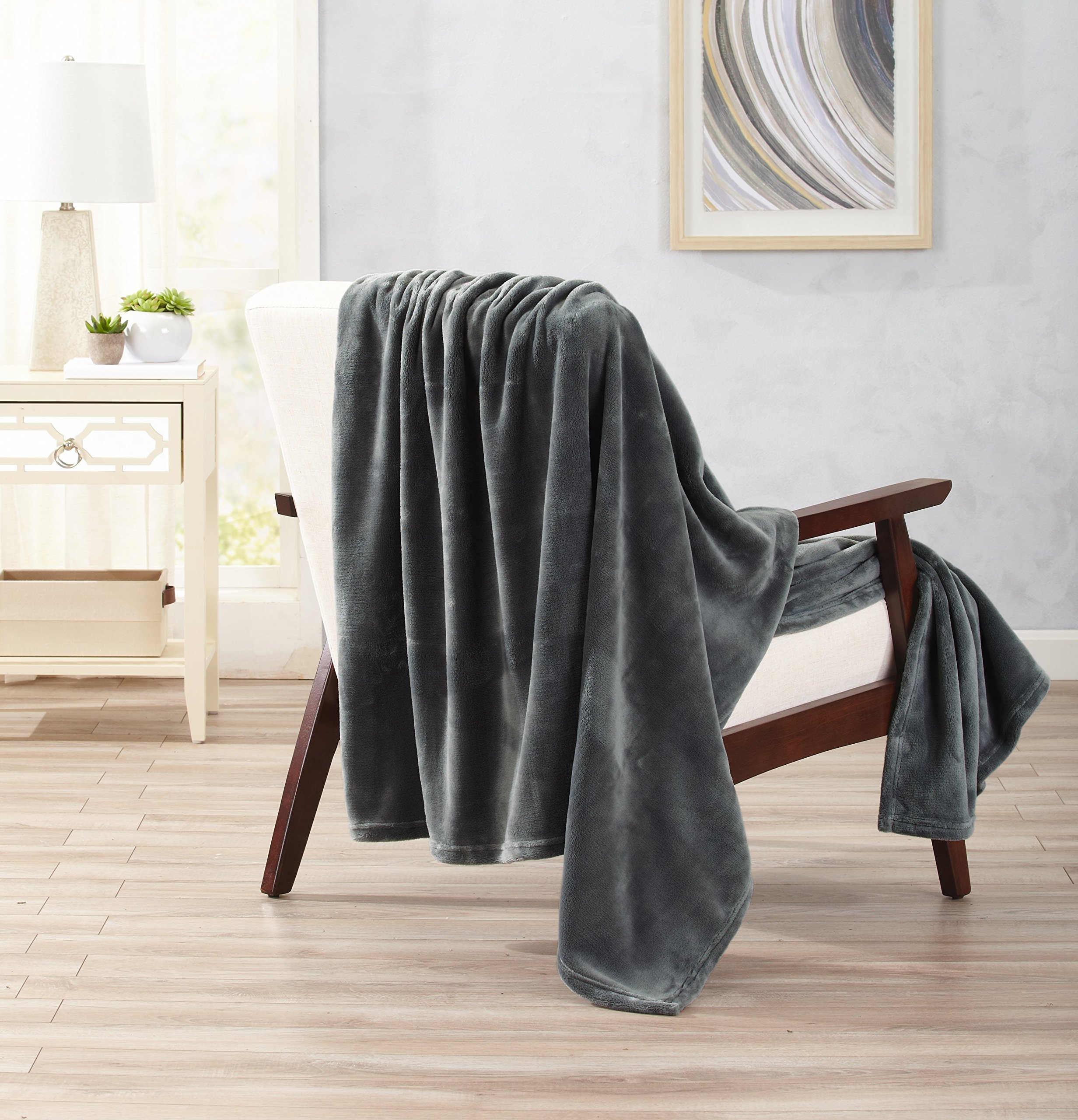 Home Fashion Designs Ultra Velvet Plush Super Soft Oversize Throw Blanket. Lightweight, Warm Blanket in Solid Colors. Marlo Collection Brand. (Steel Grey)