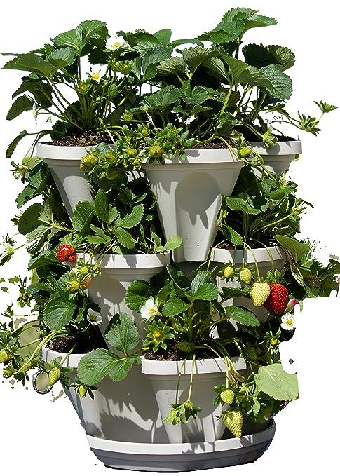 3 Tier Stackable Herb Garden Planter Set   Vertical Container Pots For Herbs,  Strawberries,