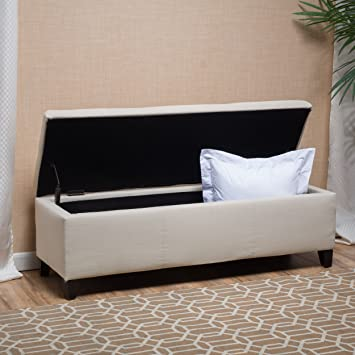 Exceptional Skyler Beige Fabric Storage Ottoman Bench