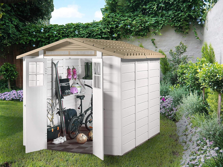 GARDIUN Caseta de Resina Tuscany EVO 240 Blanco/Beige 230x262x220 cm - KSP38240: Amazon.es: Jardín
