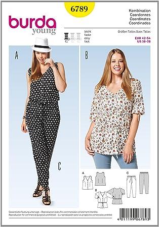 Bestpreis offizielle Seite größte Auswahl Burda Schnittmuster B6789 Damen Übergröße Capri-Hose, Tunika & Top, einfach