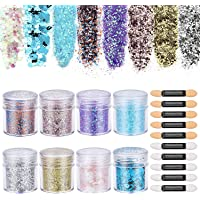 SelfTek 8 Boxes Chunky Glitter Make Up Glitter, Colorful Sequins Iridescent Flakes Cosmetic Paillette for Body Face Hair Nail Art with 10 Pcs Brushes