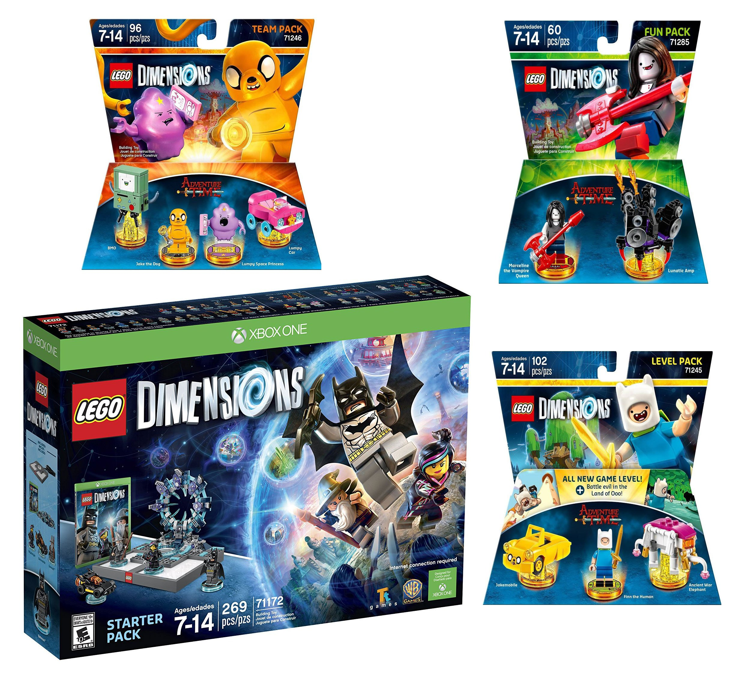 Lego Dimensions Starter Pack + Adventure Time Finn The Human Level Pack + Jake The Dog Team Pack + Marceline The Vampire Queen Fun Pack for Xbox One or Xbox One S Console