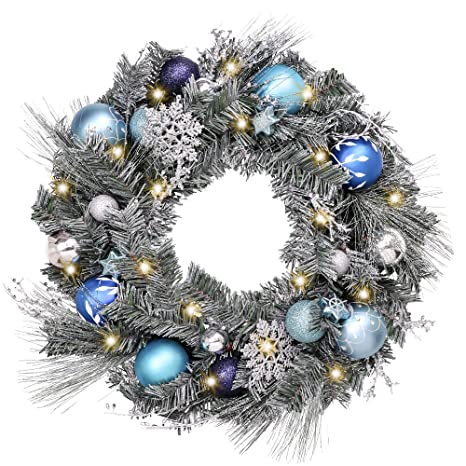 Silver Christmas Wreath.Valery Madelyn Pre Lit 24 Inch Winter Wishes Blue Silver Christmas Wreath For Front Door With Artificial Greenery Frosted Spruce Christmas Ball