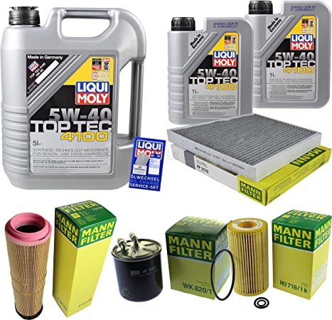 Filter Set Inspektionspaket 7 Liter Liqui Moly Motoröl Top Tec 4100 5w 40 Mann Filter Innenraumfilter Kraftstofffilter Luftfilter Ölfilter Auto