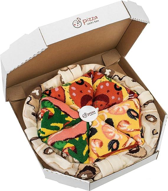 Rainbow Socks - Pizza Mix Mariscos Pepperoni Italiana - Mujer Hombre - 4 pares de Calcetines: Amazon.es: Ropa y accesorios