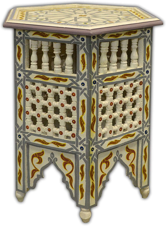 Peint main Mousharabiah marocain octogonal Table à café En