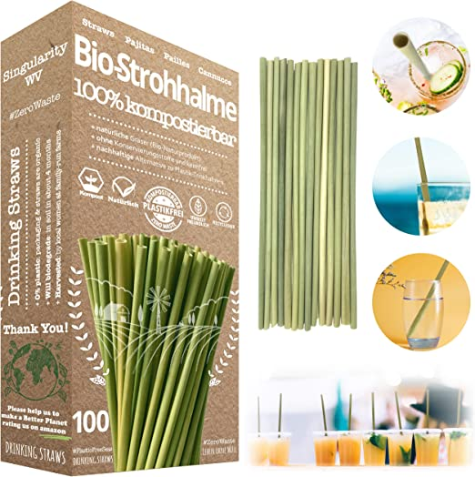 Pajitas Biodegradables | Pajitas Reutilizables — SET de 100 ...