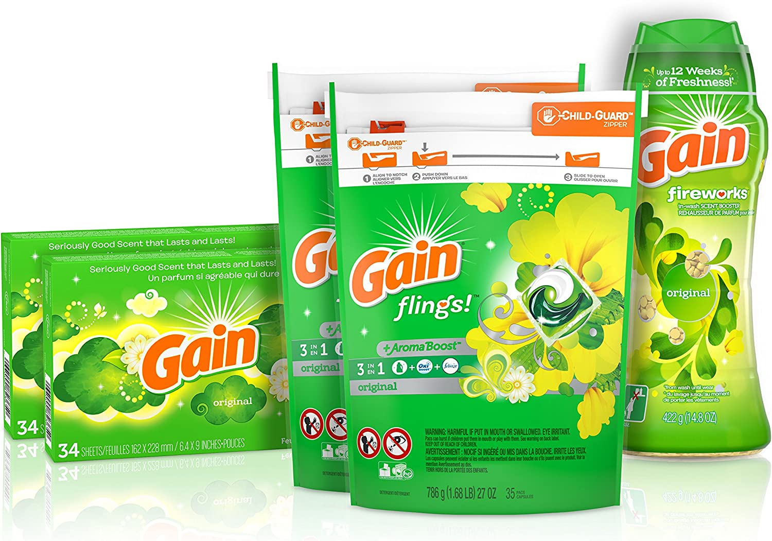 Gain Laundry Bundle: Gain Flings Laundry Detergent Pacs (2x35ct), Gain Dryer Sheets (2x34ct), Gain Fireworks Laundry Scent Booster Beads (14.8 oz)