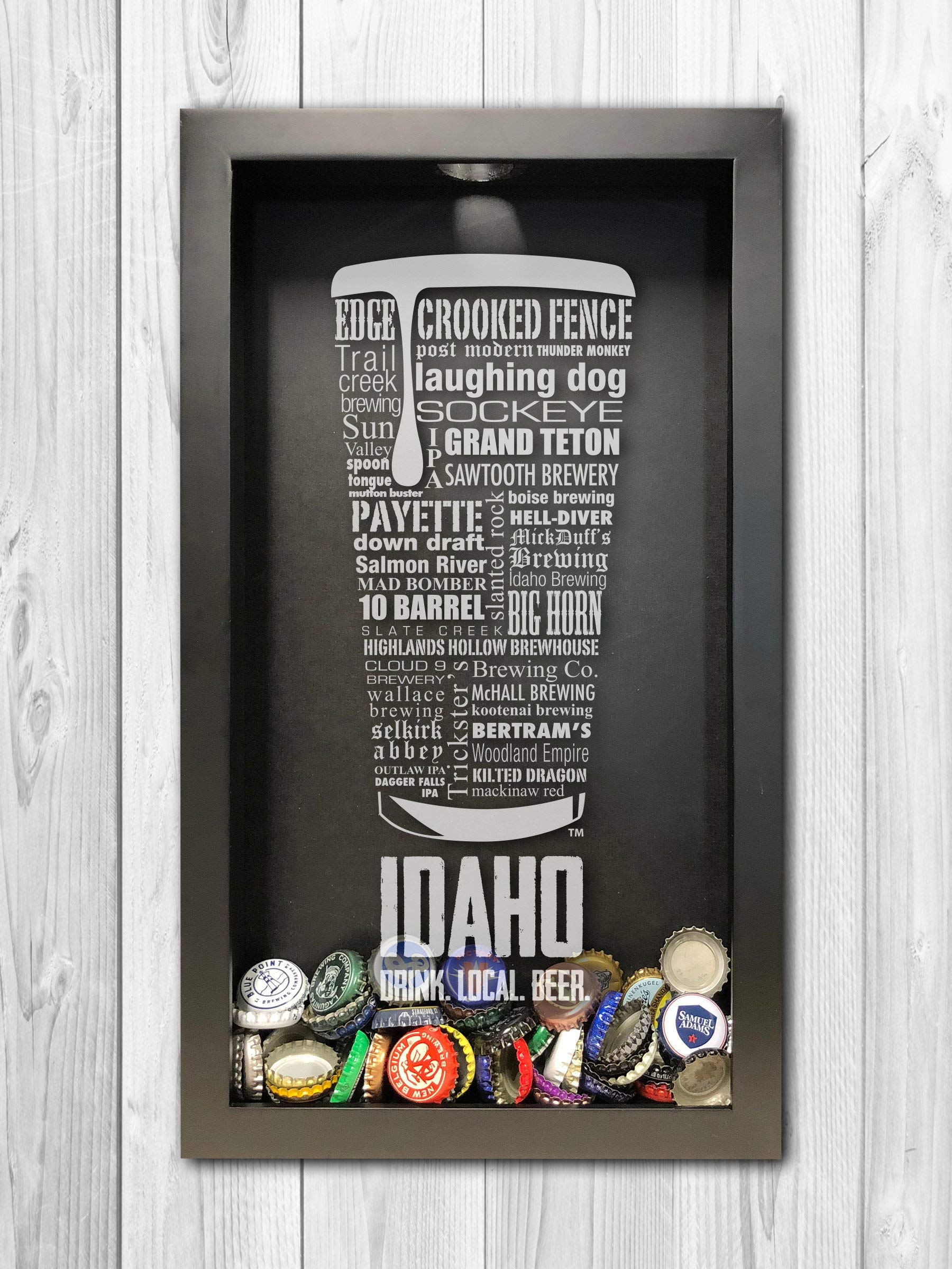 Idaho Craft Beer Typography Bottle Cap Shadow Box, Beer Cap Holder