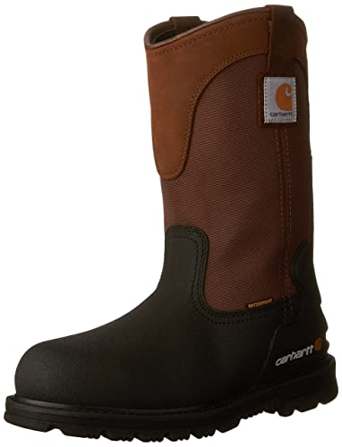 "Carhartt Men's 11"" Wellington Waterproof Steel Toe Leather work boots"