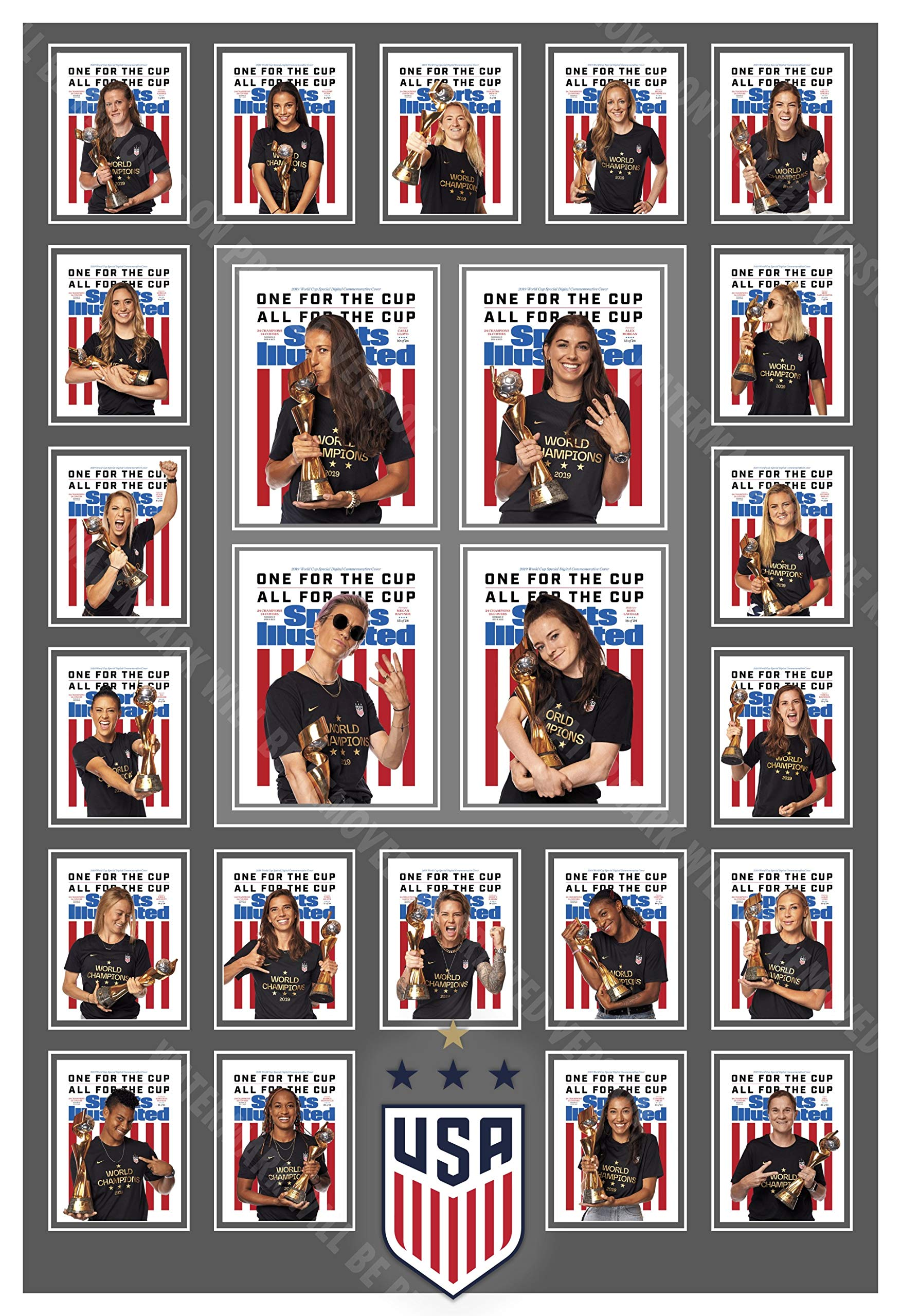 PosterWarehouse2017 U.S. Women's 2019 World Cup Champs Sports Illustrated Collage Poster by PosterWarehouse2017