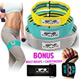 Booty Builder Bands | Set of 3 Hip Band for Women & Men | Thick Fabric Resistance Bands for Legs and Butt | Full Body Workout Exercise for All Fitness Levels | 4 Week Booty Guide & Workout Video