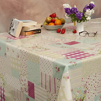 Patchwork Pink Wipe Clean PVC Oilcloth Tablecloth   130cm Wide   Price Per  Half Meter