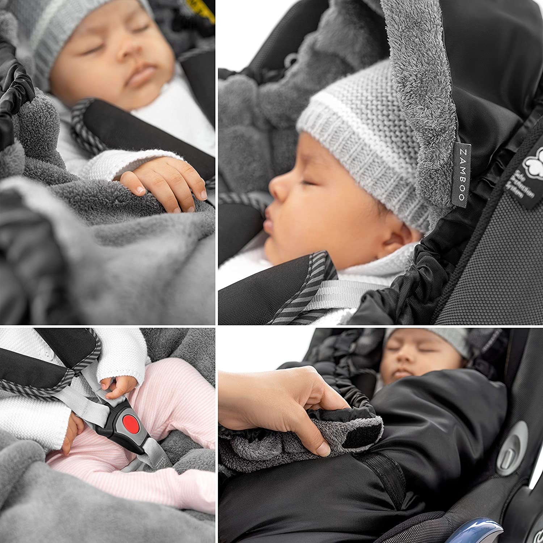 Arrullo beb/é invierno con forro polar t/érmico y bolsa Grupo 0+ Manta Envolvente para Silla de Coche - Negro Zamboo se adapta a Maxi-Cosi//Cybex//Recaro