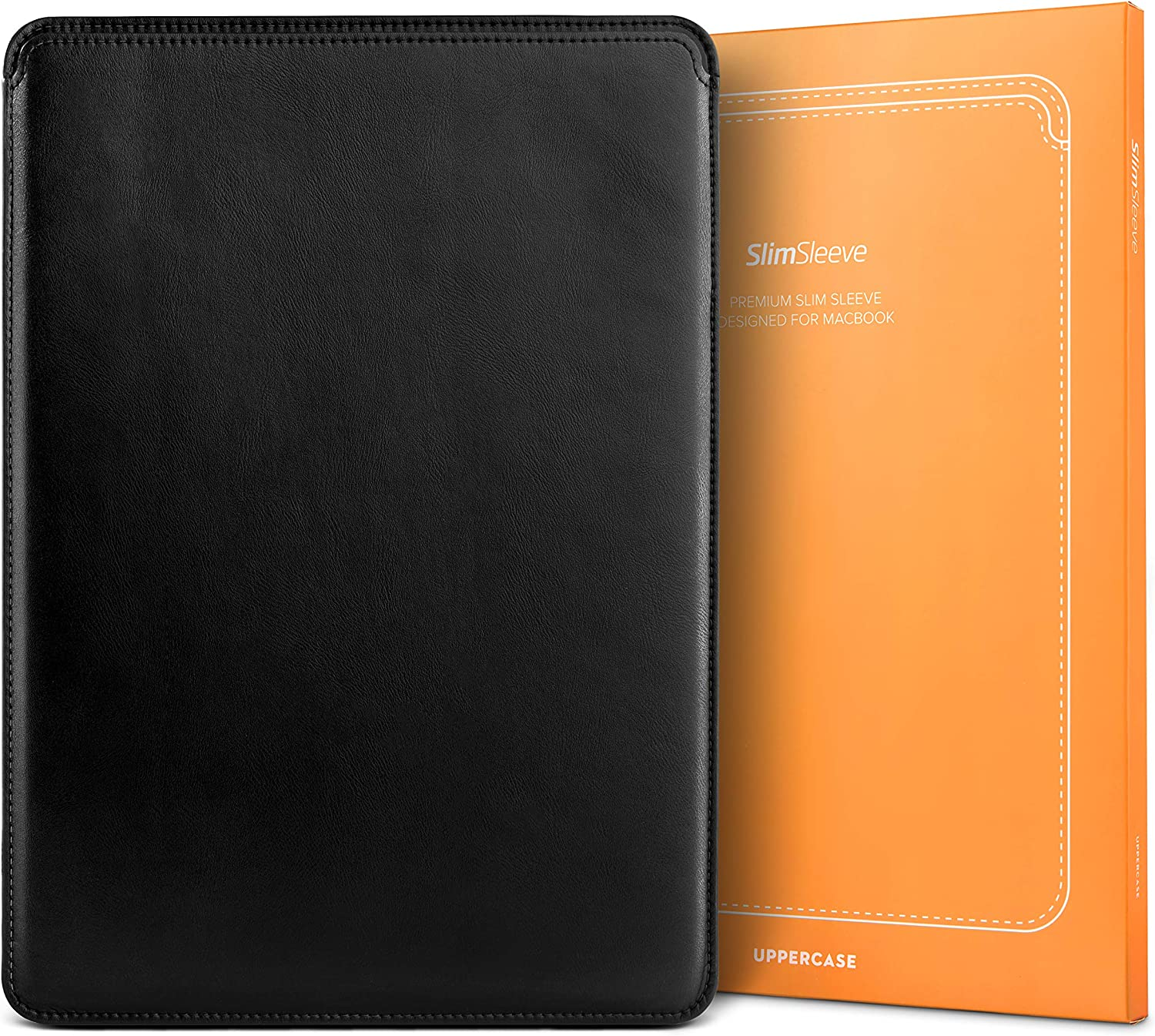 """UPPERCASE SlimSleeve Premium Vegan Leather Sleeve Pouch Case with Form Fitting Design (MacBook Pro 16"""" A2141 (2019+), Black)"""