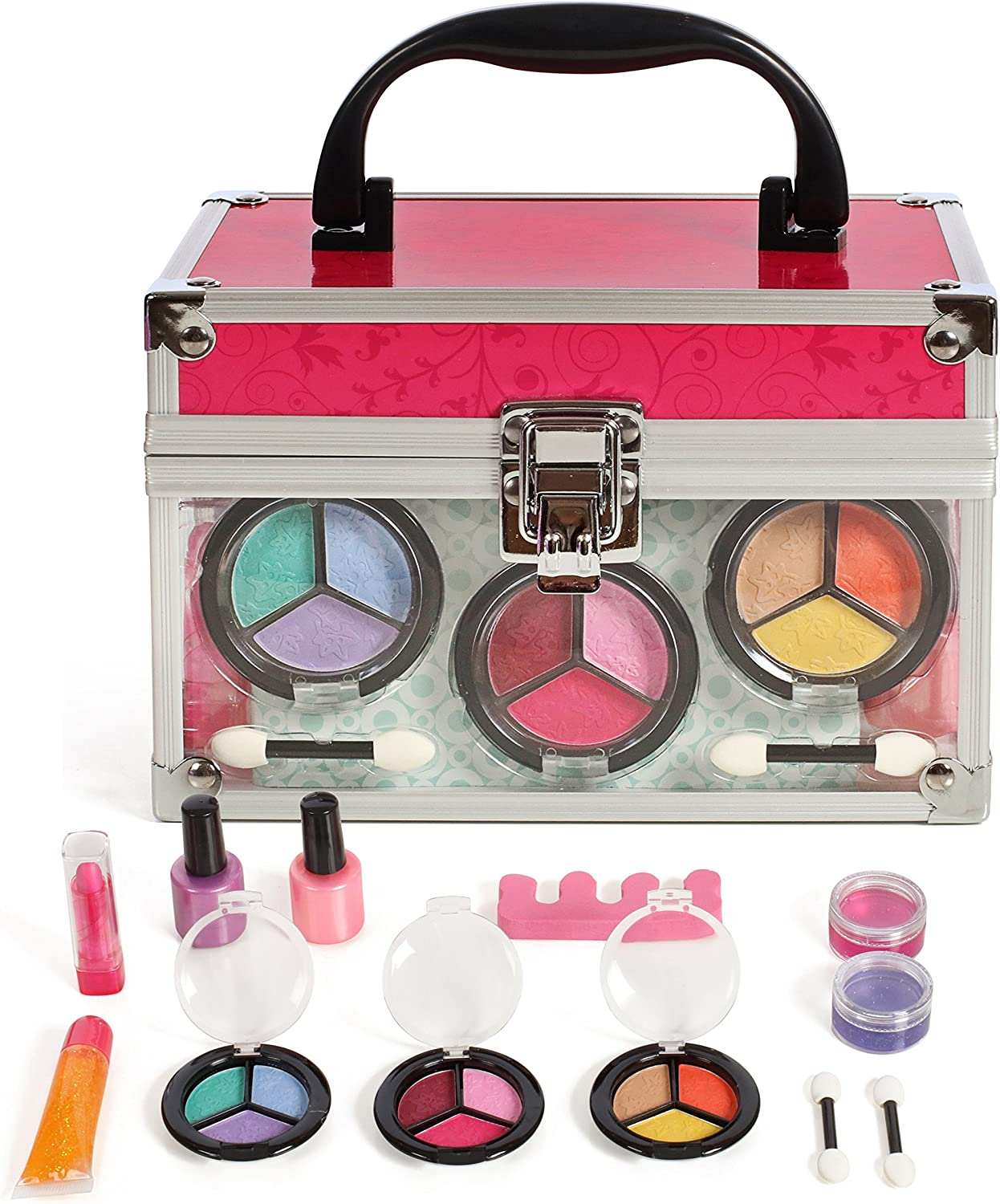 IQ Toys Pretend Play Makeup Beauty Princess Cosmetic Set with Mirror and Clear Sturdy Case for Kids Girls