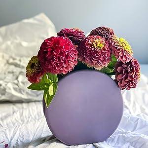 Rhapsody Studio Ceramic Vases for Flowers,Plants, Round Lavender Vase,Home Indoor Decoration,Living Room Bathroom Desk Wall Floor,Wedding Centerpiece Decor,Event Flower Plant,Modern Gift,Small Planter