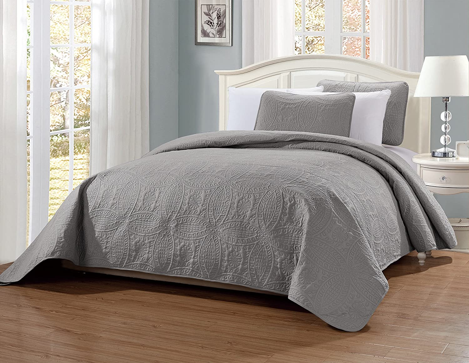 MK Home Mk Collection 3pc King/California King Solid Embossed Bedspread Bed Cover Over Size Ivory New