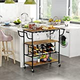 YUSONG Industrial Bar Cart with Wine Rack & Glass Goblet Holder,Utility Mobile Kitchen Storage and Serving Trolley with 3 She