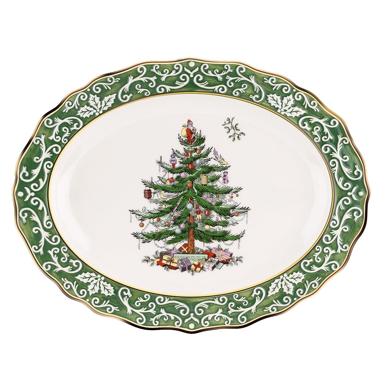 Amazon Spode Christmas Tree Embossed Platter Gold