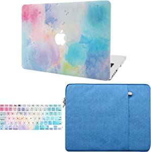"KECC Laptop Case for MacBook Air 13"" Retina (2020/2019/2018, Touch ID) w/Keyboard Cover + Sleeve Plastic Hard Shell Case A1932 3 in 1 Bundle (Rainbow Mist 2)"