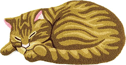 Hughapy Yellow Cute Sleeping Cat Shaped Mat Bedroom Area Rug