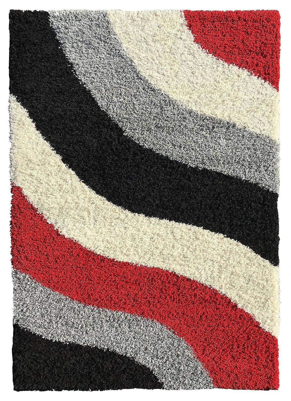 amazoncom soft shag area rug 3x5 geometric striped red grey black shaggy rug area rugs for living room bedroom kitchen decorative modern