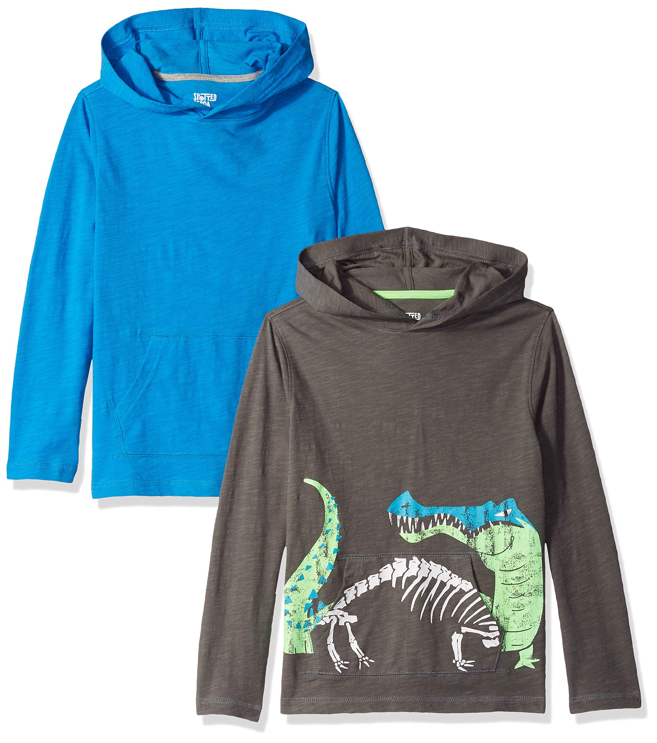 Spotted Zebra Little Boys' 2-Pack Hooded Long-Sleeve T-Shirts, Gator, Small (6-7)