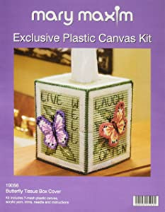 """Mary Maxim 19056 Butterfly Tissue Box Plastic Canvas Kit-5"""" 7 Count"""