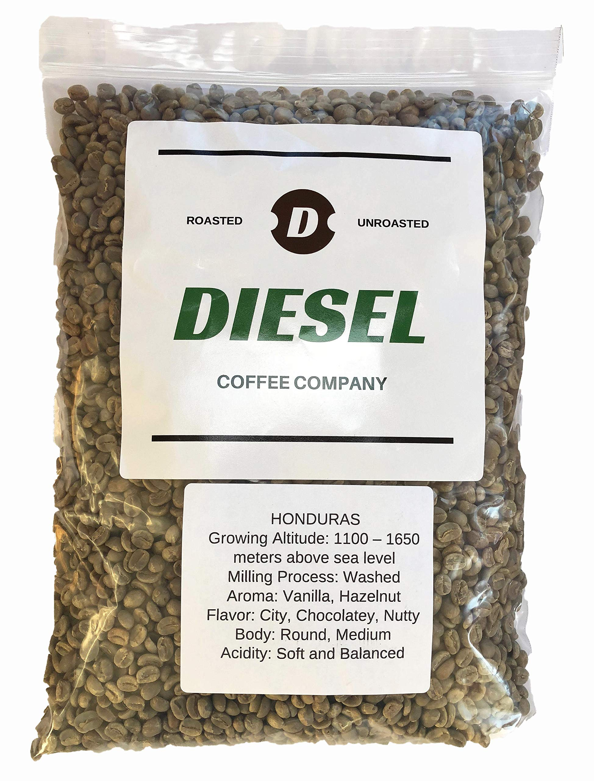 Diesel Coffee Company, '' ORGANIC HONDURAS'' Green Unroasted Whole Coffee Beans, 3-Pound Bag by Diesel Coffee Company