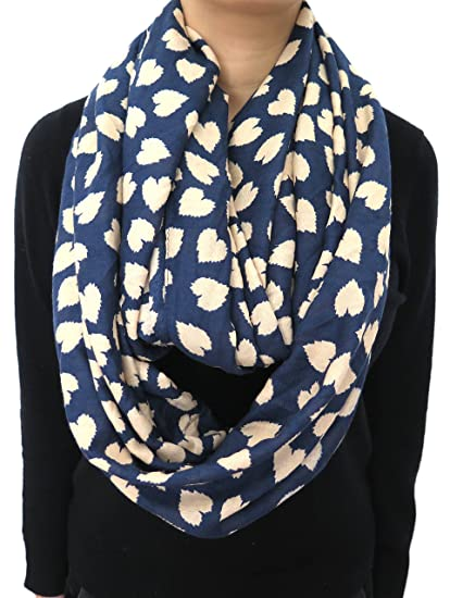 7c669bb40 Lina & Lily Loving Hearts Print Infinity Scarf Valentine's Day Gift (Navy  with ...