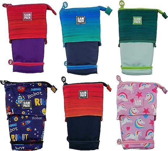 Estuche Escolar Azul&Negro Sampack 2 Cremalleras 2 Bolsillos Transformable 12 x 6 x 20 cm: Amazon.es: Oficina y papelería