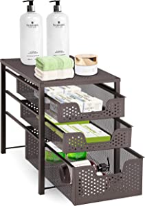 Simple Trending 3-Tier Under Sink Cabinet Organizer with Sliding Storage Drawer, Desktop Organizer for Kitchen Bathroom Office, Stackbale, Bronze