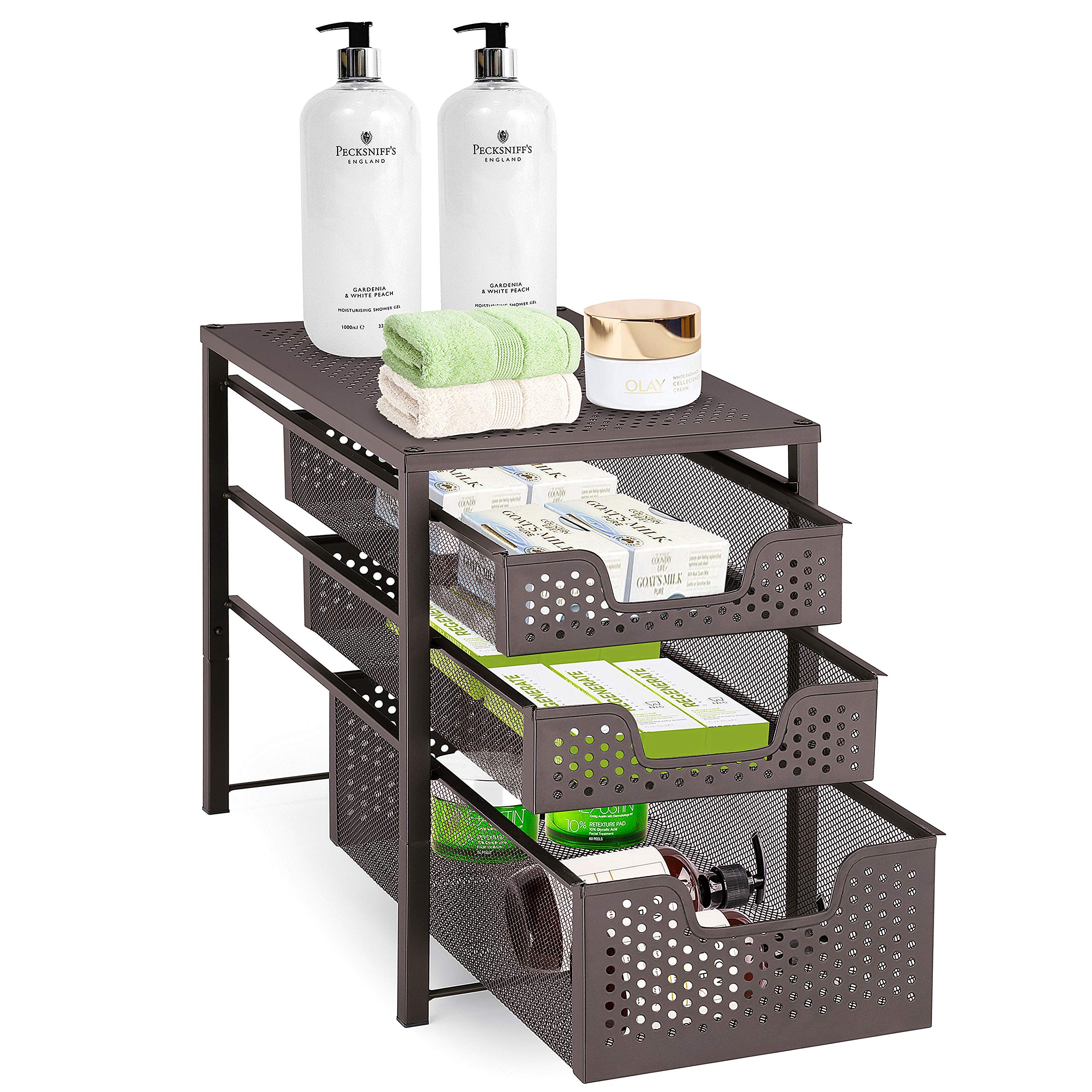 Simple Trending 3-Tier Under Sink Cabinet Organizer with Sliding Storage Drawer, Desktop Organizer for Kitchen Bathroom Office, Stackbale, Bronze by Simple Trending