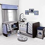 10 piezas para cuna incluyendo el protector con diseño de elefantes, azul/gris
