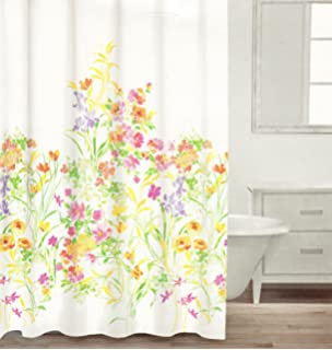 Caro Botanical Nature 100% Cotton Shower Curtain Floral Branches Design,  Pink Green Yellow Purple